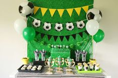 soccer cake ideas for boys ~ soccer cake & soccer cake ideas & soccer cakes for boys & soccer cake pops & soccer cakes for girls ideas & soccer cake ideas for boys & soccer cake easy & soccer cake for men Dessert Table Birthday, Birthday Desserts, Birthday Party Decorations, Party Themes, Party Ideas, Craft Party, Soccer Birthday Parties, Soccer Party, Birthday Kids