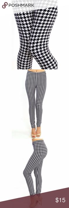 """(Plus) Curvy Hounds Tooth  Print Leggings Coming Soon! Peach skin print full leggings. Black and White Mandala print. High-waist with 1"""" Wide elastic waistband. Very soft. Great to wear dressed up with heels or casual with tennies. New in package.(N219) 92% Poly 8% Span L 37"""" I 27"""" R 10. Fits XL to 3X (14-22) comfortably. One size BohoBeauRoseBoutique Pants Leggings"""