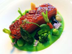 Duck breast with broccoli and wasabi purée and micro vegetables.  #relaischateaux #michelin #theyeatman