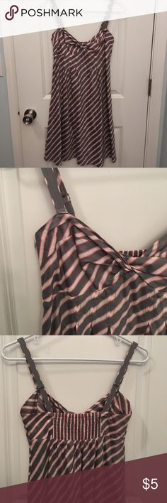 Twist-front Sundress Coral, gray, and white striped sundress with removable straps to make it strapless if you prefer. Straps are adjustable and back is shirred for a perfect fit. American Eagle Outfitters Dresses