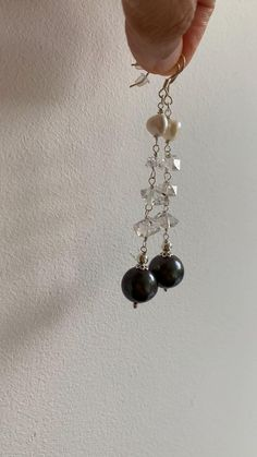 Gorgeous handmade genuine black pearl dangly earrings with real herkimer diamonds and freshwater keshi pearl in sterling silver by ZahidasJewellery Lovely large black 10 mm pearls with purple/green hues sparkling with the light. Hand wire wrapped sterling silver. #Black pearl earrings dangle #Black pearl earrings Tahitian #Herkimer diamond earrings #Herkimer diamond jewelry