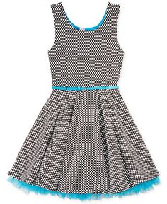 Beautees Girls' Textured Tulle-Trim Dress - Kids Dresses & Dresswear - Macy's