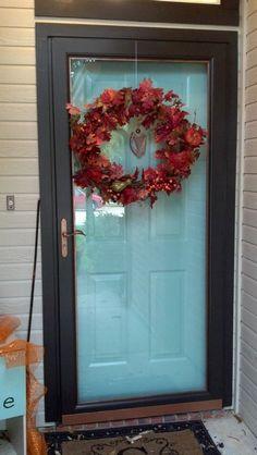 Black Front Doors, Front Door Colors, Front Door Decor, Front Storm Door Ideas, Painted Storm Door, Painted Front Doors, Mobile Home Front Door, House Front Door, Diy Gutters