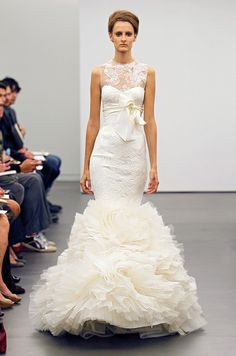 Oh my God, i need to re-new my wedding vows so i can wear this dress!!!!    Illusion and lace neckline from Vera Wang, Fall 2013