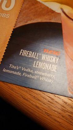 Applebee's Fireball whiskey lemonade Whiskey Lemonade, Fireball Drinks, Fireball Whiskey, Whiskey Drinks, Alcoholic Drinks, Summertime Drinks, Strawberry Lemonade, Party Drinks