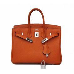 Hermes Birkin Orange Bag Silver Hardware