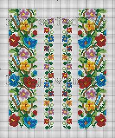 Схема вишиванки барвисті квіточки Cross Stitch Bookmarks, Cross Stitch Borders, Modern Cross Stitch Patterns, Cross Stitch Flowers, Cross Stitch Charts, Cross Stitch Designs, Cross Stitching, Folk Embroidery, Cross Stitch Embroidery