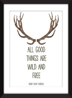All Good Things Are Wild and Free Quote Print, A3/A4/A5/11 x 14/8 x 10/5 x 7 Typography Art for Animal Lovers. This lovely quote by American writer Henry David Thoreau served as inspiration for my antler artwork. It would make the perfect gift for fans of wildlife and nature Please note that the frame is not included and is for illustrative purposes only. Print comes in six measurements Small - 5 x 7 inches Small - A5 (5.8 inches x 8.3 inches) Medium - 8 x 10 inches Medium - A4 (8.3 inches…