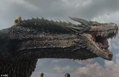 Such a cheeky chap: Drogon was grinning like a Cheshire cat as he got ready to mete out some destruction