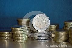 Staples of euro coins. The coins, and various commemorative coins, are minted at numerous national mints across the European Union