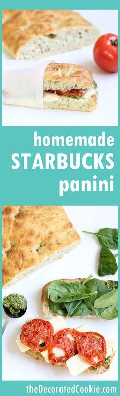 homemade copycat STARBUCKS roasted tomato and mozzarella panini with pesto -- lunch, sandwich