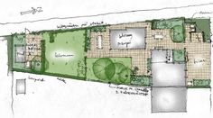 Zoned garden with a parallelogram type lawn.