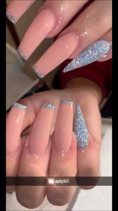Discover recipes, home ideas, style inspiration and other ideas to try. Acrylic Nails Coffin Glitter, Purple Glitter Nails, Coffin Shape Nails, Best Acrylic Nails, Pink Acrylics, Baby Pink Nails Acrylic, Pink Ombre Nails, Glittery Nails, Aycrlic Nails