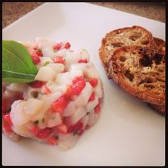 tartare petoncle Ceviche, Sashimi, Carpaccio, Bruschetta, Banquet, Baked Potato, Shrimp, Favorite Recipes, Diet