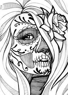 Sugar skull coloring pages free printable pics detail for adults . sugar skull coloring pages free for adults Sugar Skull Mädchen, Skull Coloring Pages, Colouring, Adult Coloring, Coloring Sheets, Coloring Book, Stylo Art, Day Of The Dead Art, Sketchbook Project