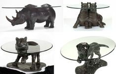 Mark Stoddart Animal Coffee Tables 5 Bronze Collection Of Animals Tables Emerging Out Of Glass Surfaces Cool Coffee Tables, Coffee Table Design, Unique Dining Tables, Dog Table, Coffee Table Furniture, Baby Room Design, Design Museum, Animal Sculptures, Surface Design