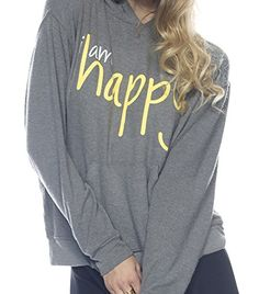 New Womens Peace Love World I Am Happy Grey Pullover Hoodie Sweatshirt Peace Love
