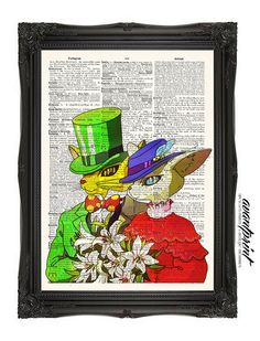 The Baron and Baroness Ghibli Print on Unframed Antique Upcycled Bookpage
