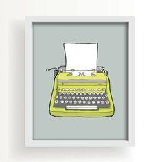 dessin vintage machine à écrire grand sticker par AnnieBaileyArt