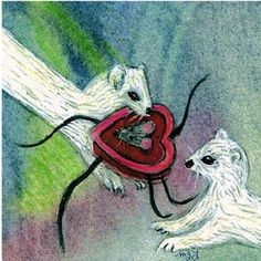 Weasel Card  Ferret  Note Card Greeting Card Romantic by maryjill, $4.00