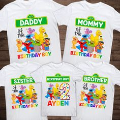 Personalized Baby Sesame Street Birthday Tee! Personalized with any name or age. No character limit. Listing includes ONE shirt. Add as many as you need to the cart and put the name for each in the notes! Item is printed with a commercial grade heat press and professional vinyl