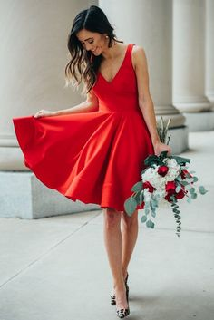 Simple Knee Length V-neckline Red Homecoming Dress