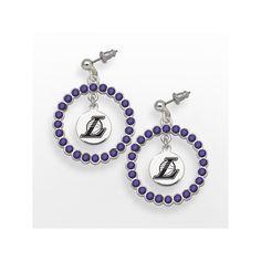 LogoArt Los Angeles Lakers Silver Tone Crystal Logo Charm Hoop Drop Earrings, Women's, Purple