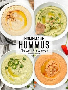 Easy Homemade Hummus Recipe - Four Flavors! - Budget Bytes - Homemade hummus is quick, easy, and inexpensive, and can be made with several different flavor add- - Diet Recipes, Vegetarian Recipes, Cooking Recipes, Healthy Recipes, Snacks Recipes, Potato Recipes, Vegetable Recipes, Garbanzo Bean Recipes, Hummus