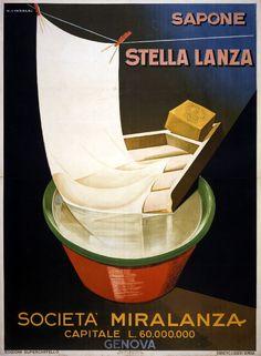 Vintage Italian Posters ~ #illustrator #Italian #posters ~  Giuseppe Riccobaldi. Stella Lanza soap. 1928