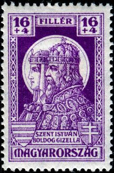 Sello: King saint Stephen I and Queen Gizella (Hungría) Anniv. of Prince Imre's death) Mi:HU 440 Old Stamps, Vintage Stamps, Saint Stephen, Old Coins, Mail Art, Stamp Collecting, Folk Art, Europe, Poster