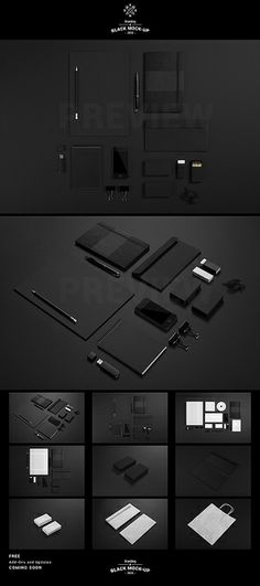 visual identity | Black Branding Identity Stationery Mock-up
