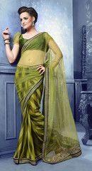 #Mehndi green colour half net and half georgette  material designer #saree #sari. A traditional look with western flavor.