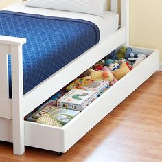The Land of Nod | Kids' Trundles: Kids White Simple Storage Trundle in Beds