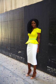 Neon Peplum Blouse + High Waist Pencil Skirt