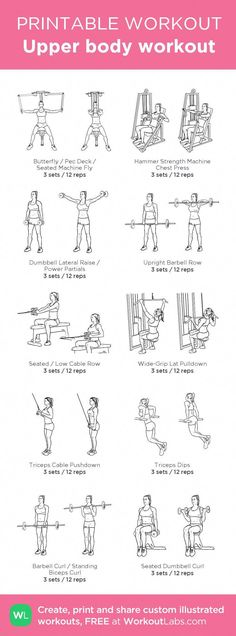 exercises for upper back Beginner Upper body workout my custom workout created at . - Beginner Upper body workout my custom workout created at Click through to d - Pilates Workout, Upper Body Workout Gym, Beginner Upper Body Workout, Pilates Training, Upper Body Workout For Women, Upper Body Strength Workout, Upper Body Circuit, Arm Workout At Gym, Body For Life Workout