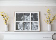 DIY Antique Window Picture Frame -great use for old windows! One of my neighbors was getting rid of some old windows a few months back and asked if I wanted some. Flower Picture Frames, Unique Picture Frames, Wooden Picture Frames, Window Picture Frames, Antique Window Frames, Antique Windows, Old Windows, Vintage Windows, Cadre Photo Diy