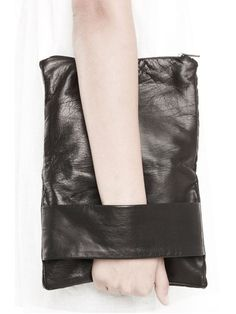 Rad Hourani Unisex Leather Foldover Clutch