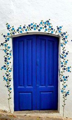 blue flowered door in Mojácar, Almería, Spain (pibepa)