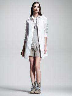 Brunello Cucinelli Organza Trenchcoat, Dog-Tag Necklace, Fringe-Hem Knit Tank & Foldover Gabardine Shorts