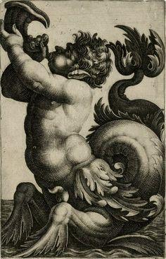 A merman like sea monster blowing a conch shell by Giovanni Andrea Maglioli (Italian 1580 - 1610).