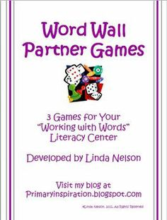 FREE 3 partner games to use with any words on your word wall!