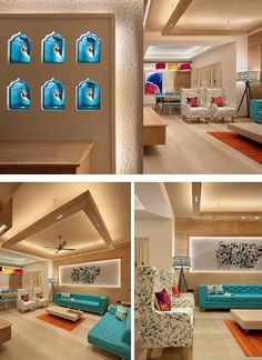 A feature wall in the entrance with striking blue Jharokha-style (traditional Indian overhanging balconies) niches. The niches serve as a showcase for ornamental wall-mounted hand statuettes. Living Room Sofa Design, My Living Room, Living Room Designs, Living Room Decor, Dining Room, Living Room Turquoise, Drawing Room Interior, Decoration Entree, Indian Living Rooms