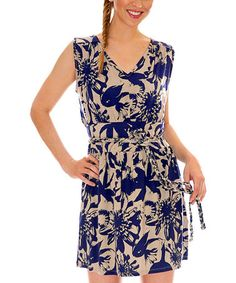 Take a look at this Flora Navy Calla Belted Dress by vfish on #zulily today!