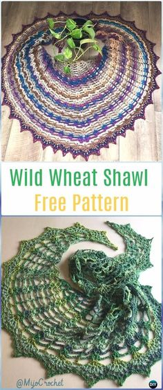 Crochet Wild Wheat Shawl Free Pattern - Crochet Women Shawl Sweater Outwear Free Patterns