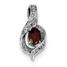 Sterling Silver Rhodium-plated Diamond & Garnet Oval Pendant