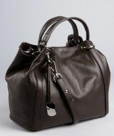 Bluefly: Furla, Chocolate Pebbled Leather Convertible 'Zaffiro' Tote
