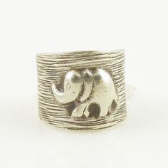 Elephant Sterling Silver Animal Wrap Ring $45.00
