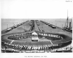 The World Columbian Exposition in 1893 featured a movable walkway which, during the fair, it carried people, up to at a time, for 6 cents per seat. Coney Island Amusement Park, Amusement Parks, Moving Walkway, Expo Chicago, World's Columbian Exposition, American Exceptionalism, White City, World's Fair, Lake Michigan