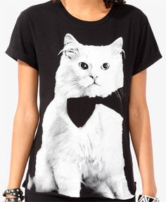 Relaxed Fancy Cat Tee from Forever Saved to Comfy Clothes. Pretty Outfits, Cute Outfits, Fancy Cats, Cat Shirts, Crazy Cat Lady, T Shirts For Women, My Style, Tees, Forever21