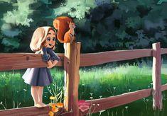 ArtStation - Playing with banni, reza abbbasi Art Drawings Sketches, Cute Drawings, Anime Art Girl, Cartoon Art, Love Art, Character Art, Fantasy Art, Illustration Art, Painting Art